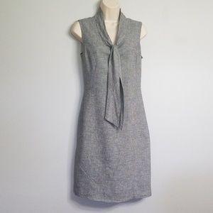 Calvin Klein sleeveless linen blend tie neck dress